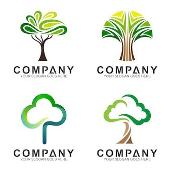Flaches logo-design des minimalistischen baums