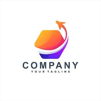 Flaches logo mit farbverlauf