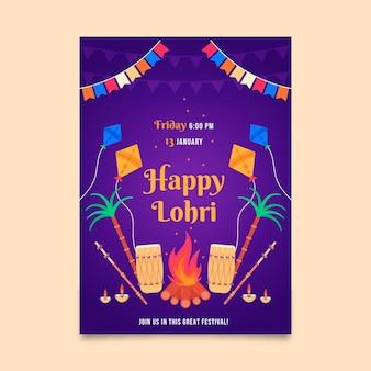 Flaches lohri-plakat mit lagerfeuer
