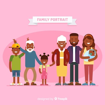Flaches lustiges familienportrait