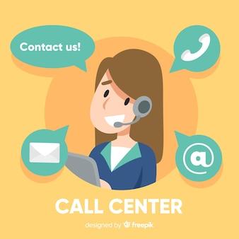 Flaches mädchen, das in einem call-center-hintergrund arbeitet