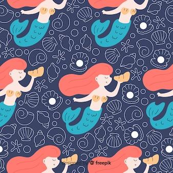 Flaches marinemuster mit meerjungfrauen