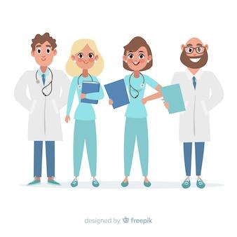 Flaches medizinisches personal eines krankenhauses
