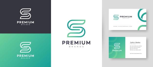 Flaches minimales anfängliches s-buchstaben-logo mit premium-visitenkarten-design-vektorvorlage für ihr unternehmensgeschäft