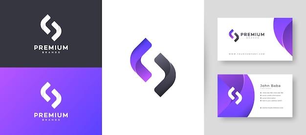 Flaches minimales anfängliches s-buchstaben-logo mit premium-visitenkarten-entwurfsvorlage für ihr firmengeschäft