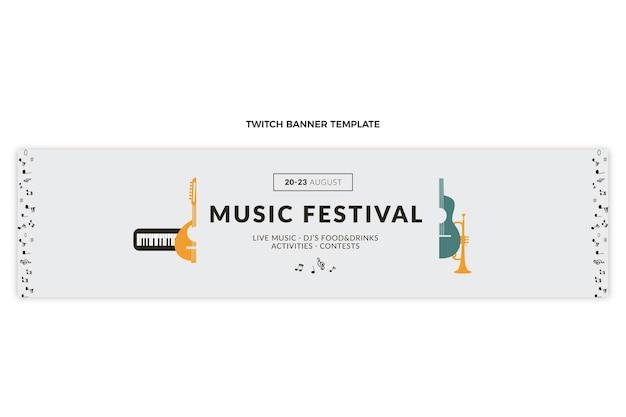 Flaches minimales musikfestival zuckendes banner