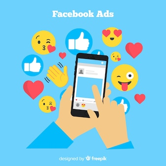 Flaches mobiltelefon mit emojis