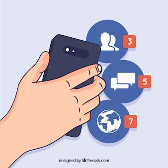 Flaches mobiltelefon mit facebook-benachrichtigungen