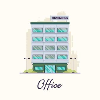 Flaches modernes bürogebäude in der stadt