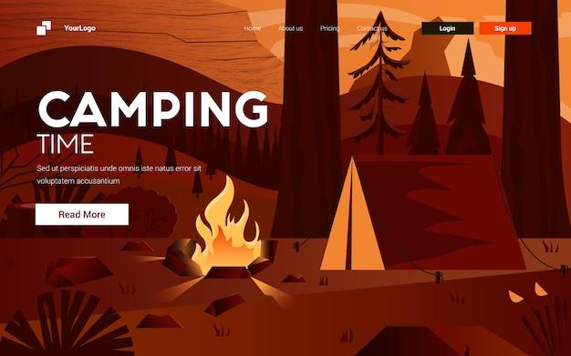 Flaches modernes design illustration des campings