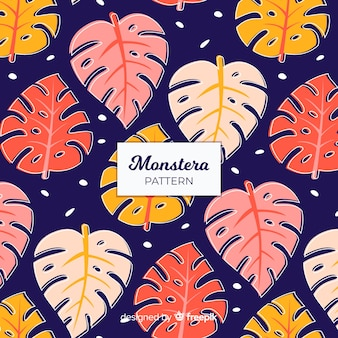 Flaches monstera-muster