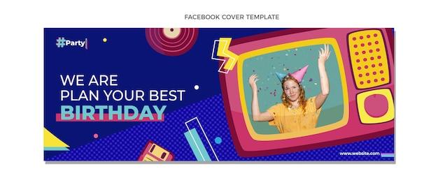 Flaches mosaik geburtstags-facebook-cover