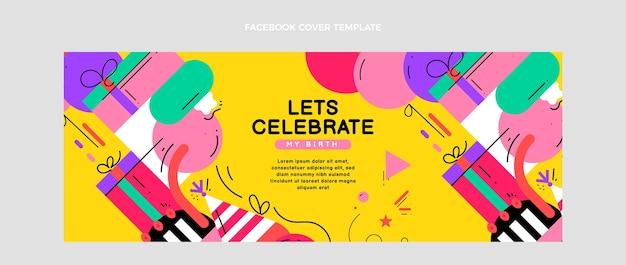 Flaches mosaik-geburtstags-facebook-cover