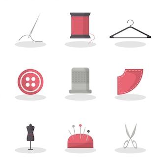 Flaches nähen für mode-lifestyle-design. messgerät. modestil. satz von nadel, thead, aufhänger, knopf, fingerhut, schaufensterpuppe, nadelkissen, schere