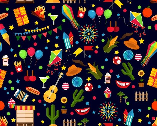 Flaches nahtloses beschaffenheitsmuster festa junina