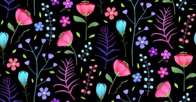 Flaches nahtloses muster der wiesenblumen auf schwarz