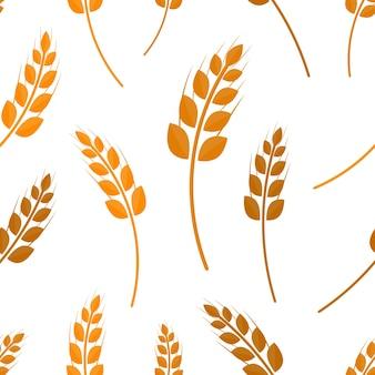 Flaches nahtloses muster des weizens auf dem weißen hintergrund. konzept der bäckerei, bio-lebensmittel und ernte.