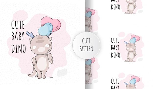 Flaches nahtloses muster niedlichen baby dino
