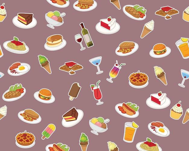 Flaches nahtloses texturmuster menü essen und trinken