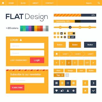 Flaches netz und bewegliche gestaltungselemente, knöpfe, ikonen. website-vorlage.
