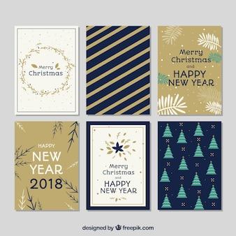 Flaches neues jahr 2018 und weihnachtskarten