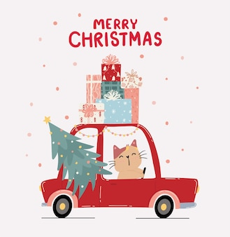 Flaches niedliches kätzchenkatze fahren rotes auto mit kiefernweihnachtsbaum und stapel der gegenwärtigen geschenkbox auf dach, frohe weihnachten