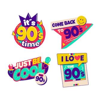 Flaches nostalgisches 90er-abzeichen-set