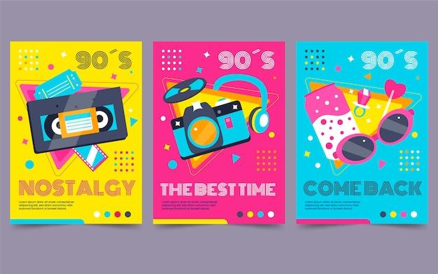 Flaches nostalgisches 90er-cover-paket