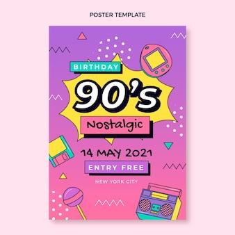 Flaches nostalgisches geburtstagsplakat der 90er jahre