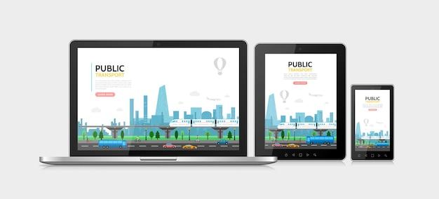 Flaches öffentliches verkehrskonzept mit u-bahnwagen busflugzeug fußgänger stadtverkehr adaptiv für laptop-tablet-telefonbildschirme