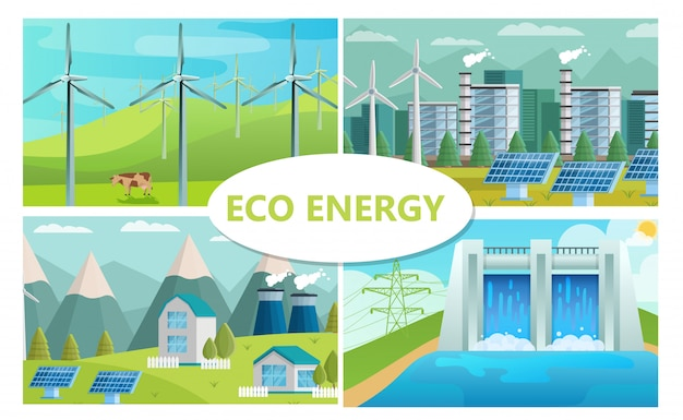 Flaches öko-energiekonzept mit ökologischer fabrik für windmühlen-solarmodule und wasserkraftwerk