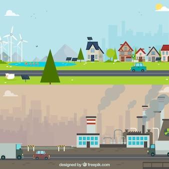 Flaches ökosystem- und verschmutzungskonzept