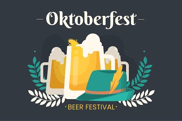 Flaches oktoberfest festival konzept