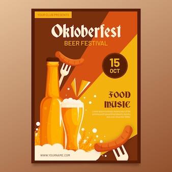 Flaches oktoberfest festivalplakat