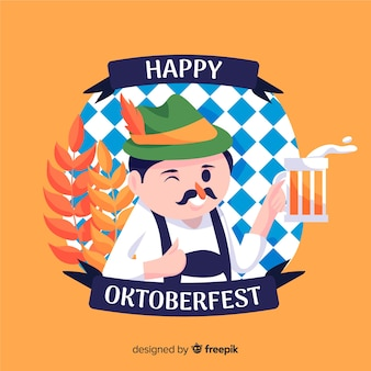 Flaches oktoberfest mit dem glücklichen mann, der einen toast gibt