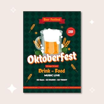Flaches oktoberfest-plakatkonzept