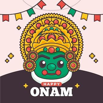 Flaches onam-illustrationskonzept