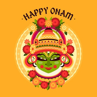 Flaches onam-illustrationskonzept
