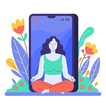Flaches online-yoga-klassenkonzept