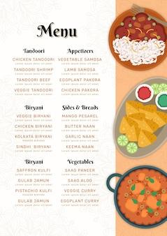 Flaches orientalisches indisches restaurantmenü