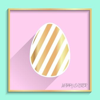 Flaches osterei mit geometrischer musterillustration für feiertagshintergrund. kreativ- und modestilkarte