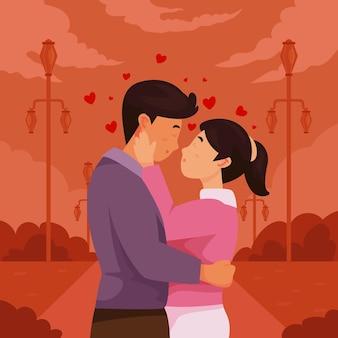 Flaches paar, das illustration küsst