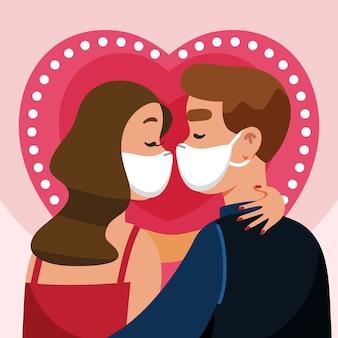 Flaches paar, das mit covid-maskenillustration küsst