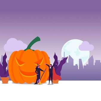 Flaches paar des halloween-festivals kleiden sich wie dracula und hexe für trick oder leckerei.