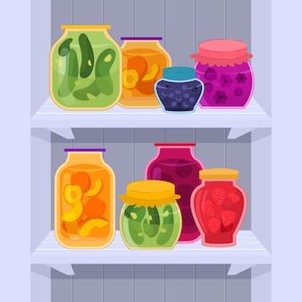 Flaches pantry-set abgebildet