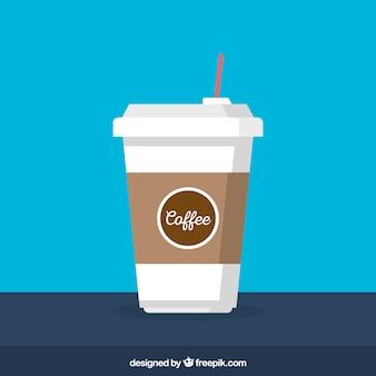 Flaches papier kaffeetasse mit frontaler ansicht