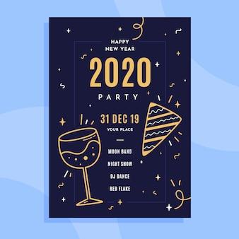 Flaches plakat des neuen jahres 2020