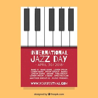 Flaches plakat für internationalen jazztag