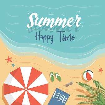 Flaches plakatdesign der glücklichen sommerzeit mit textraum. genießen sie wochenende, perfektes urlaubsplakatkonzept.