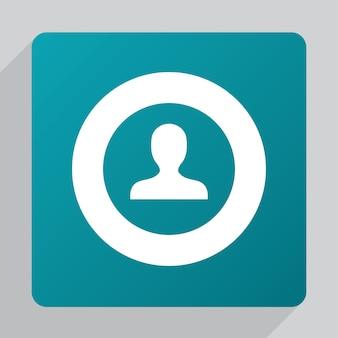 Flaches profilsymbol, weiß auf grünem hintergrund
